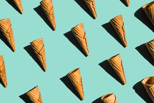 Layout of empty waffle cones with shades