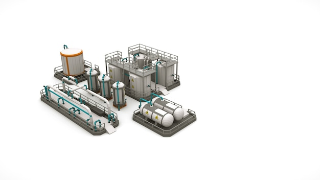 Layout of the factory area, production facilities and storage. 3d illustration of factory equipment and structures isolated on white background.
