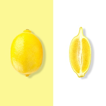 Layout of lemon. creative food concept. flat lay. top view