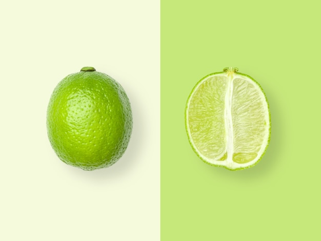 Layout of lime. creative food concept. flat lay. top view