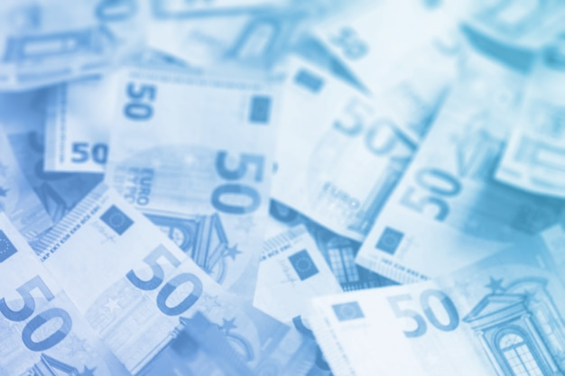 Layout of money on white flatley. paper money account in europe. 50 euro banknotes.