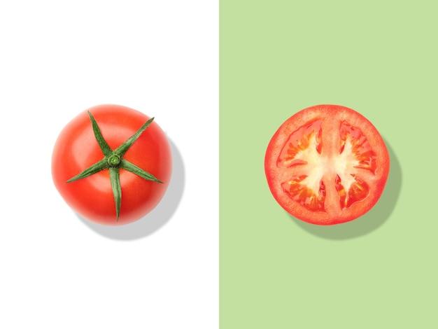 トマトのレイアウト。創造的な食品のコンセプト。フラットレイ