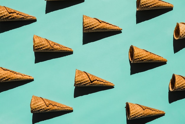 Layout of waffle cones with shades