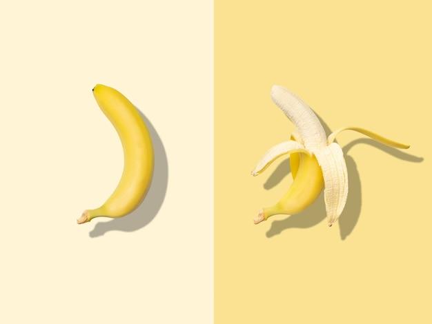 Layout of whole and peeled bananas