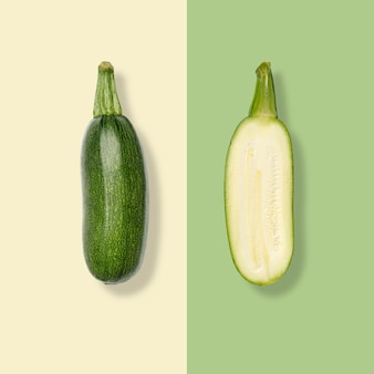 Layout of zucchini. creative food concept. flat lay. top view