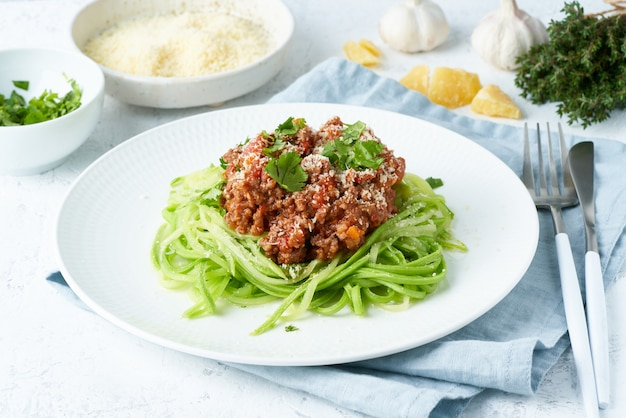 ケトパスタボロネーゼ、ひき肉とズッキーニの麺、フォッドマップ、lchf、低炭水化物