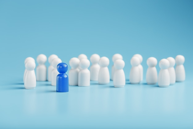 The leader in blue leads a group of white employees to victory, hr, staff recruitment. the concept of leadership.
