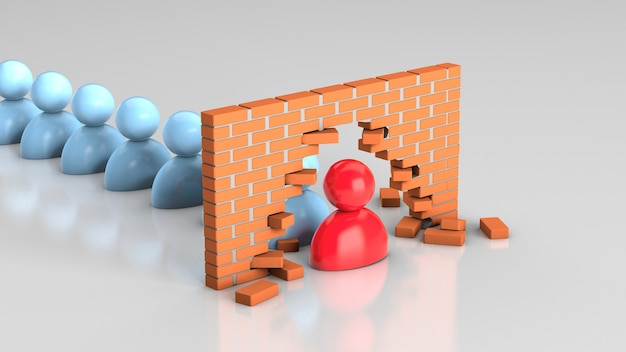 The leader broke the wall leader solves problems and leads the team towards the goal