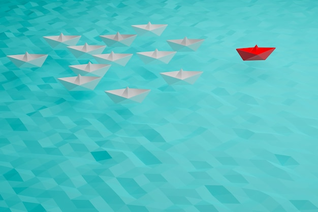 Leader ship concept, red boat win and success, business success concept, 3d illustration rendering