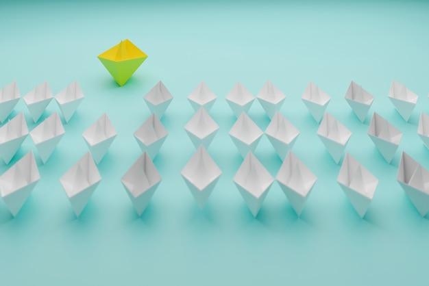 리더쉽 개념, 노란색 보트 승리 및 성공, 비즈니스 성공 개념, 3d 그림 렌더링