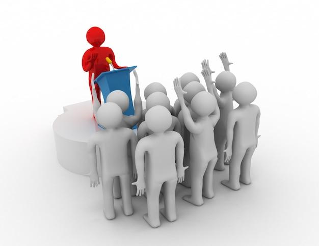 Лидер обращается к аудитории. 3d концепция лидера
