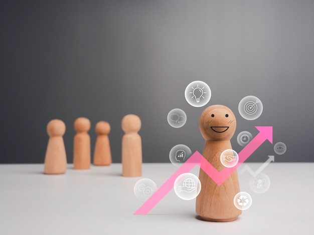 Leader woman, influencer, women in leadership position concept. the wooden figure, strong female standing in front of team with pink growth business arrow and management vision icons, minimal style.