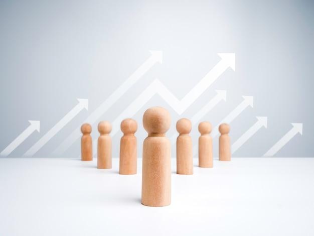 Лидер деревянных фигур с последователями выстраивается в упорядоченном порядке на белом фоне со стрелками роста. концепция лидерства, менеджер, генеральный директор, лидер рынка, влиятельный человек, лидер мнений и лидерство в бизнесе.