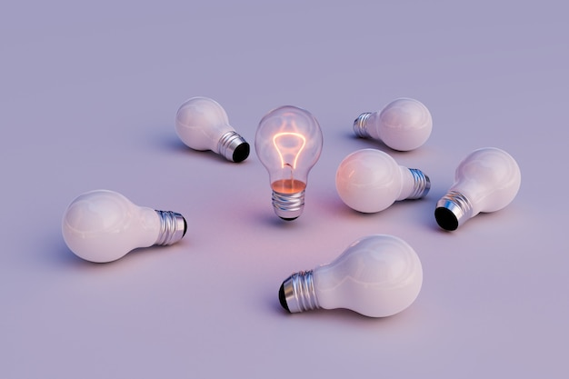 Leadership action of light bulb, 3d illustration rendering
