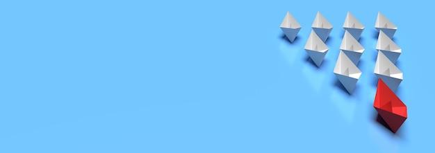 リーダーシップとビジネスコンセプト1つの赤いリーダー船が他の船を空白の背景で前進させます