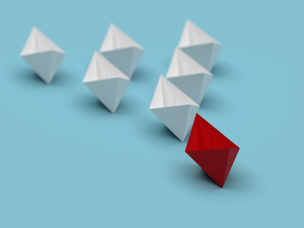 Лидерство и бизнес-концепция. один красный лидерный корабль ведет вперед другие белые корабли.