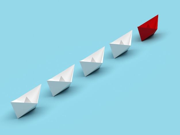 Лидерство и бизнес-концепция. один красный командирский корабль ведет вперед другие белые корабли.