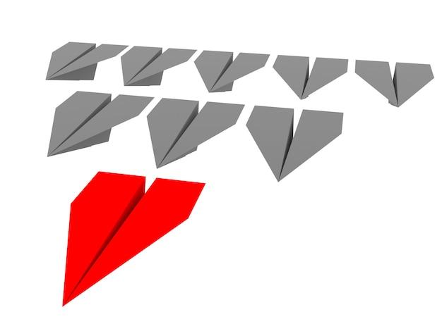 리더십과 비즈니스 개념. 종이 비행기