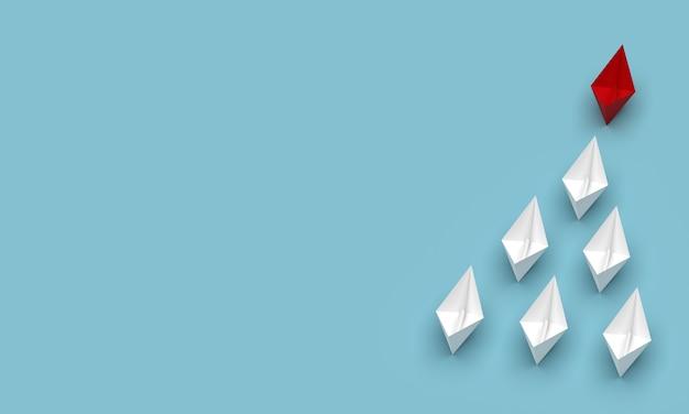 Лидерство и бизнес-концепция. красный флагман ведет вперед другие корабли с пустым фоном