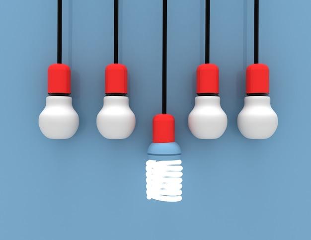 Лидерство и различные творческие идеи концепции. лампочка. 3d визуализированная иллюстрация