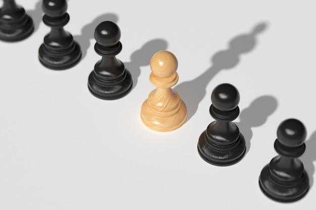 Концепция лидерства. шахматная пешка вместе с другими пешками отбрасывает тень на королеву. концепция лидерства, стремление к силе и победе. 3d визуализация.