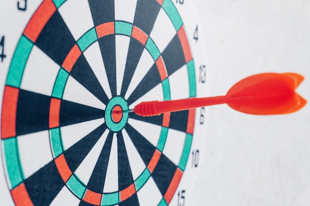 Leadership concept arrows on archery target of dartboard target business concept