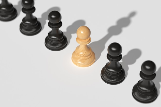 Leadership concept . a chess pawn, along with other pawns, casts a shadow over the queen. the concept of leadership, the desire for strength and victory. 3d render.