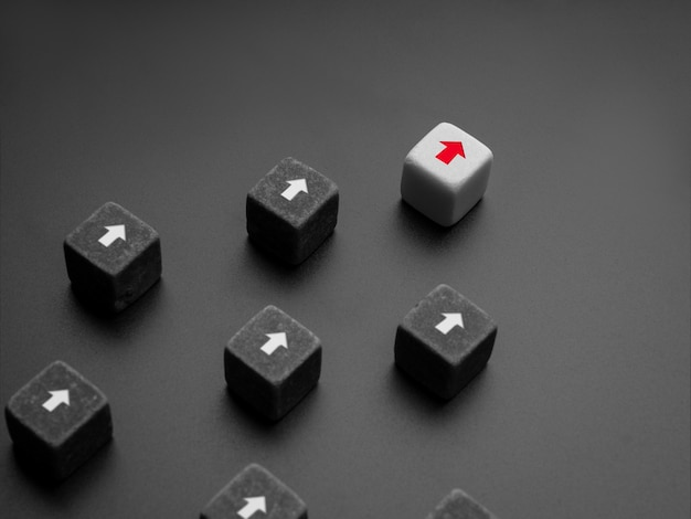 Leadership concept, manager, ceo, influencer, opinion leader, and business leading. the leader with red arrow on white dice leading the black dice group with white arrow, followers on dark background.