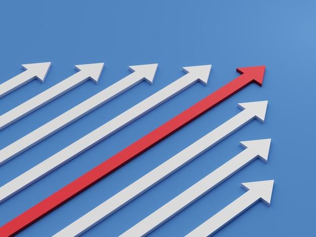 Концепция лидерства. одна красная стрелка лидера, ведущая вперед команду