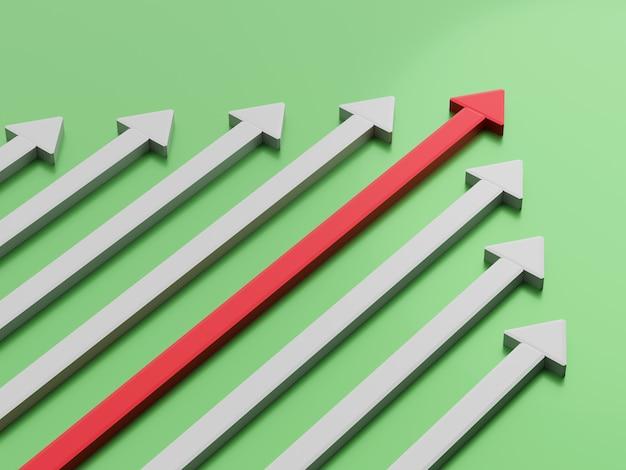 Концепция лидерства. одна красная стрелка лидера, ведущая вперед команды