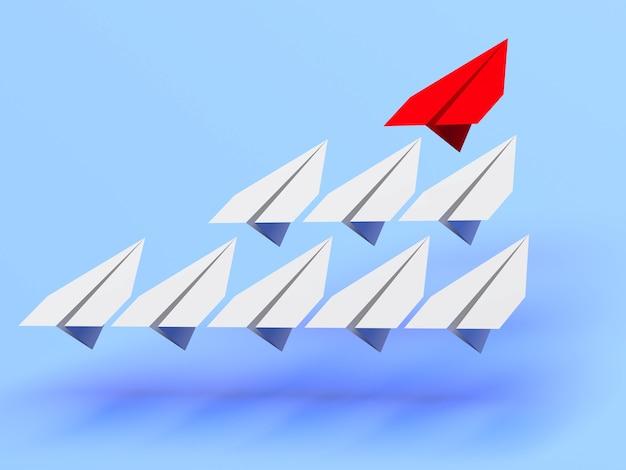 Концепция лидерства. один красный самолет-лидер ведет вперед другие серые самолеты