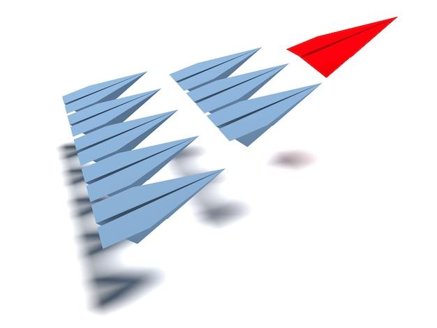 리더십 개념. 하나의 빨간색 지시선이 다른 회색 평면을 앞으로이 끕니다.