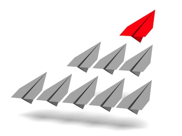 Концепция лидерства. один красный самолет-лидер ведет вперед другие серые самолеты.