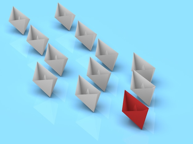 Концепция лидерства. один красный лидерный корабль ведет вперед другие белые корабли.