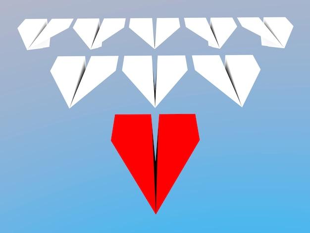 Концепция лидерства. один красный бумажный самолет-лидер ведет вперед других белых.