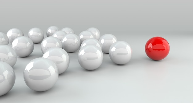 Leadership concept, red leader ball leading whites. 3d rendering
