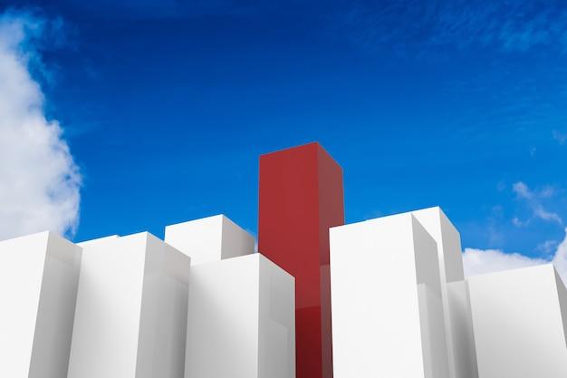 푸른 하늘 배경에 3d 렌더링된 빨간색과 흰색 건물과 리더십 개념