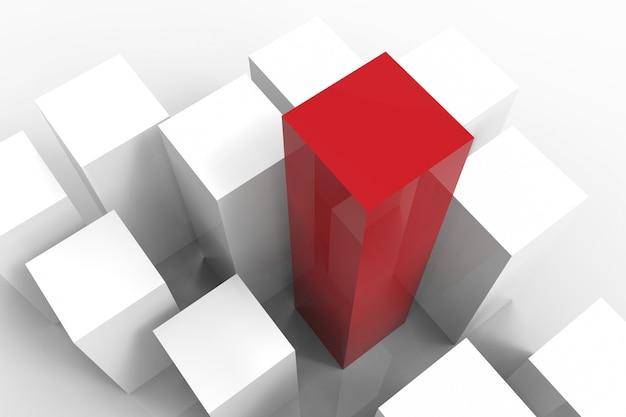 흰색 배경에 3d 렌더링된 빨간색과 흰색 건물 리더십 개념