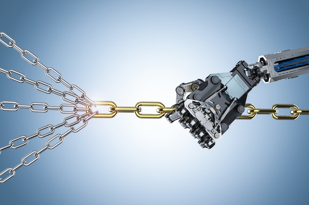 Leadership concept with 3d rendering cyborg arm pull bunch of chains