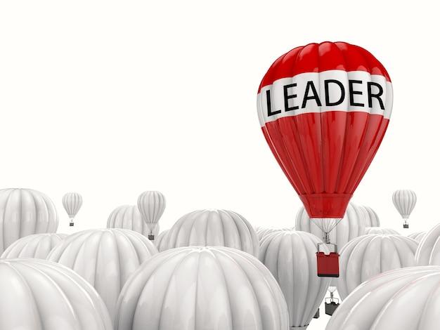 Концепция лидерства с 3d-рендерингом красного воздушного шара, летящего над