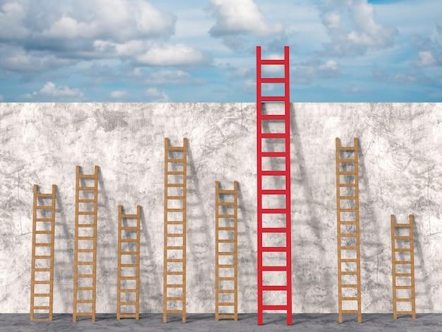 Концепция лидерства с 3d-рендерингом красной лестницы среди коричневых лестниц