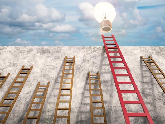 Концепция лидерства с 3d-рендерингом красной лестницы с сияющей лампочкой
