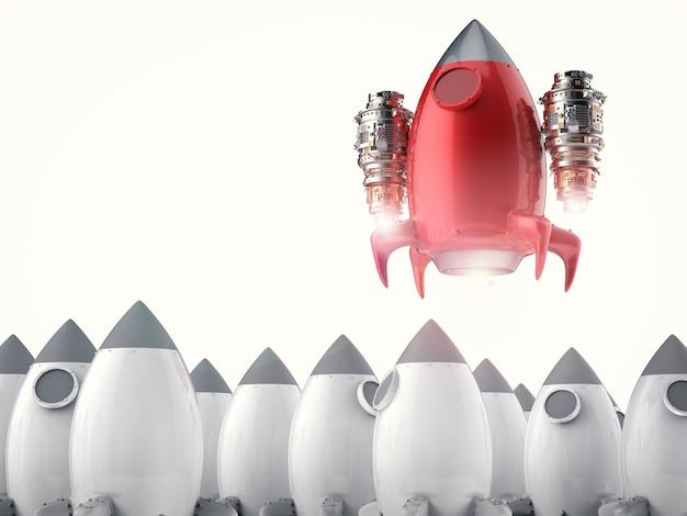 Концепция лидерства с 3d-рендерингом запуск красной ракеты
