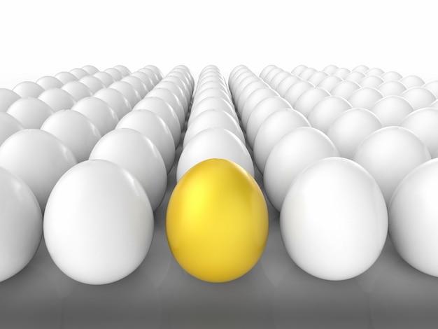 Концепция лидерства с золотым яйцом среди белых яиц