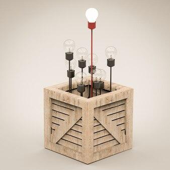 Концепция лидерства с загорающейся лампочкой