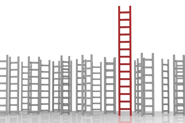 Концепция лидерства с красной лестницей среди серых лестниц