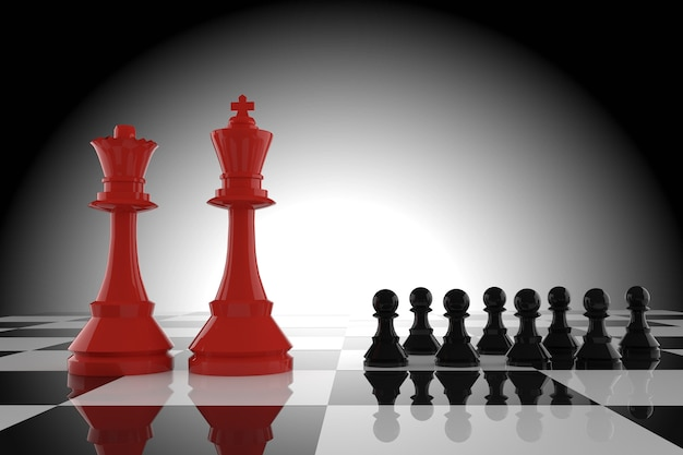 Leadership of the red king and queen chess with black pawn in 3d rendering