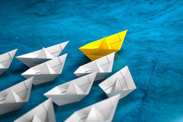 Концепция лидерства, успеха и совместной работы, желтый лидер бумажный кораблик, ведущий белые лодки последователей. 3d визуализация