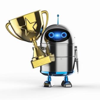 리더십 기술 개념 3d 렌더링 안드로이드 로봇 또는 골드 스타 트로피가 있는 인공 지능 로봇
