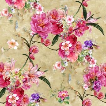 葉と花の水彩画のシームレスなパターン